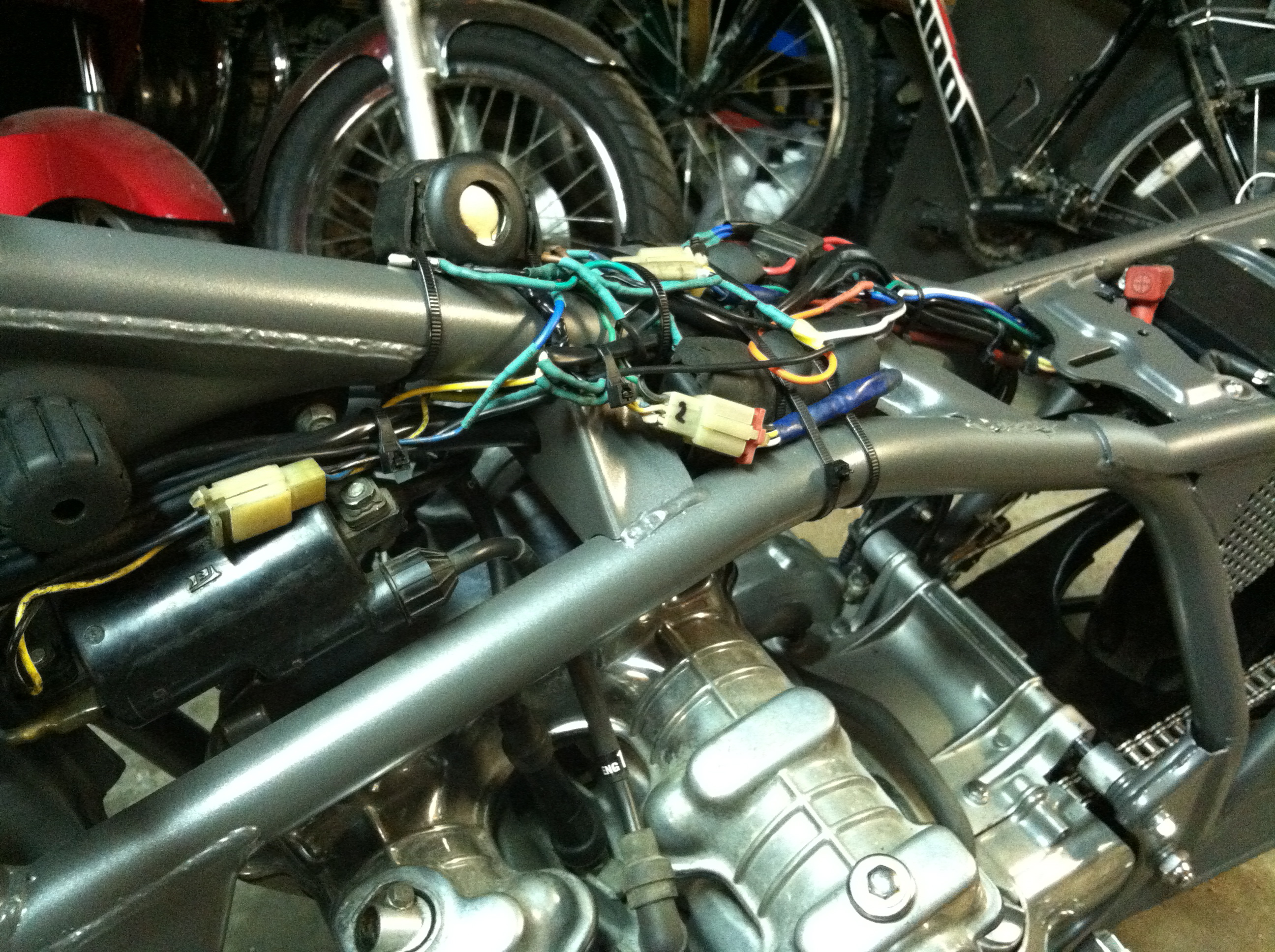 Wiring One Up Moto Garage Custom Built Harness The Master Cylinder I Installed Has A Brake Light Switch In So Wired That Into